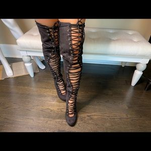 PRIVILEGED CAGE LACE UP OVER THE KNEE BOOTS BLACK